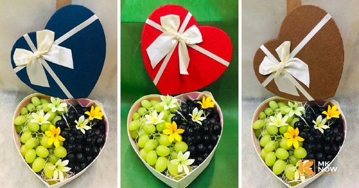 Hộp quà trái cây - FSNK32 hình trái tim với ba màu đỏ, xanh, vàng ánh kim