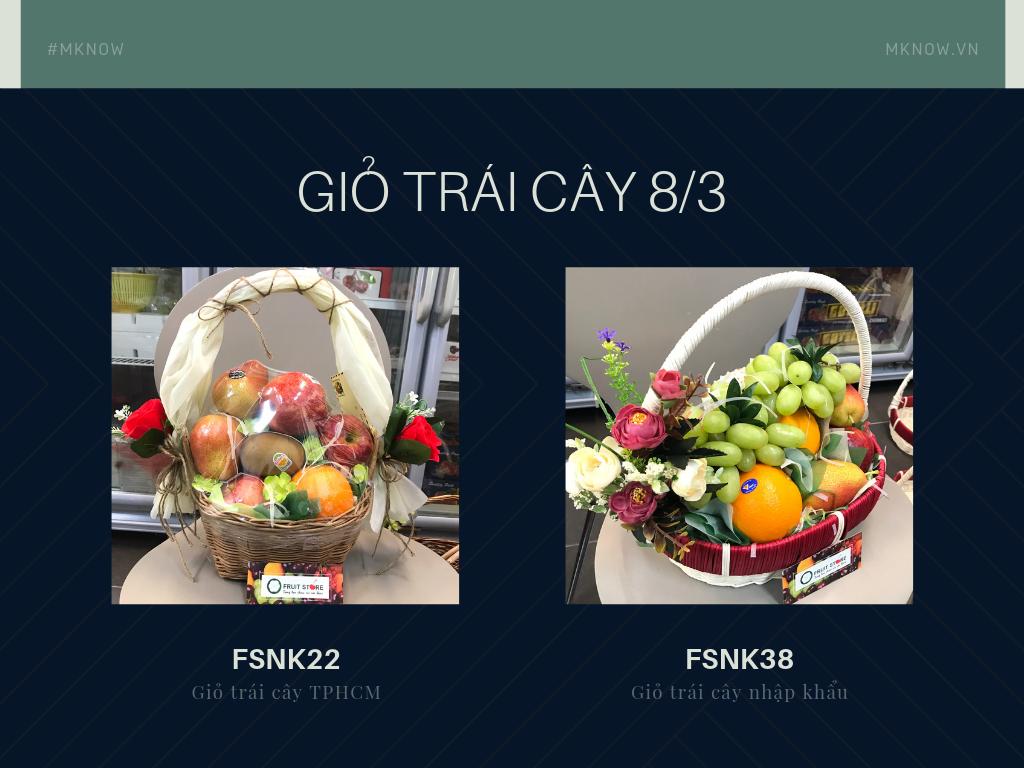 Giỏ trái cây 8/3: Giỏ trái cây quà 8/3 cho mẹ, vợ, bạn gái, đồng nghiệp nữ, cô giáo