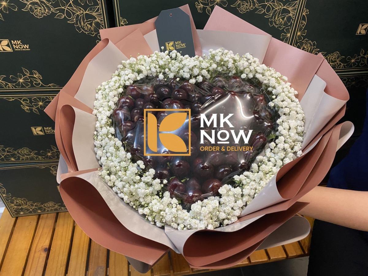 Top 10 bó hoa Cherry làm quà tặng Valentine - Quà tặng trái cây Mknow