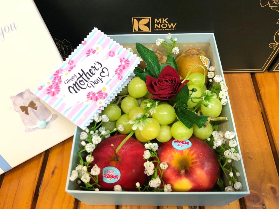 Quà tặng mẹ Mother's Day MKnow - Trái cây nhập khẩu làm quà hộp hoa quả, giỏ, lẵng hoa quả cao cấp & Combo tiệc gia đình
